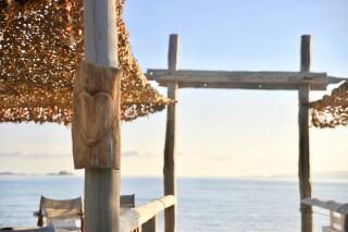 earth bar medusa beach resort in naxos sea view
